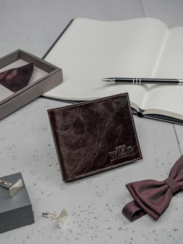 Tmavohedná pánska kožená peňaženka 3189