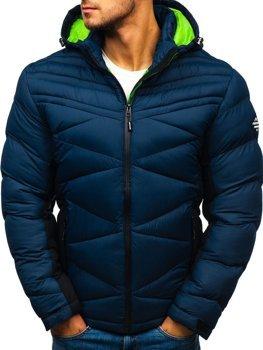 Tmavomodrá pánska prešívaná športová zimná bunda Bolf AB121