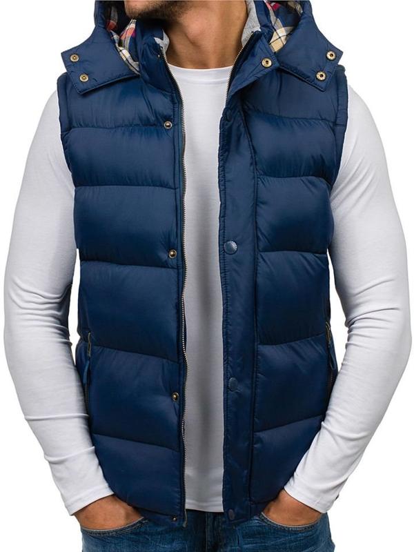Tmavomodrá pánska vesta s kapucňou BOLF K114