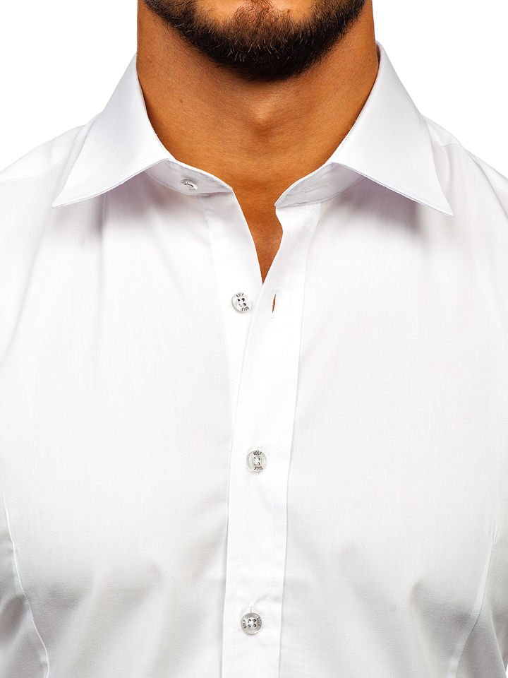afdab552fc72 Biela pánska elegantná košeľa s dlhými rukávmi BOLF 1703