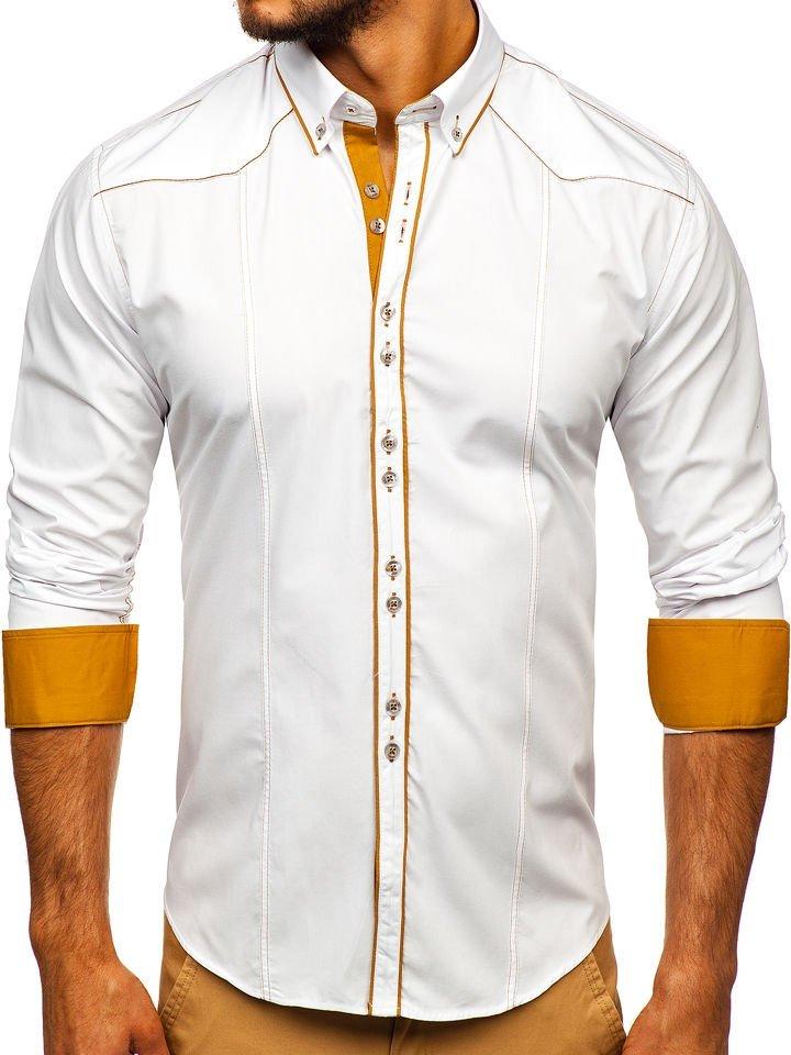 764f3422a5e9 Biela pánska elegantná košeľa s dlhými rukávmi BOLF 4777