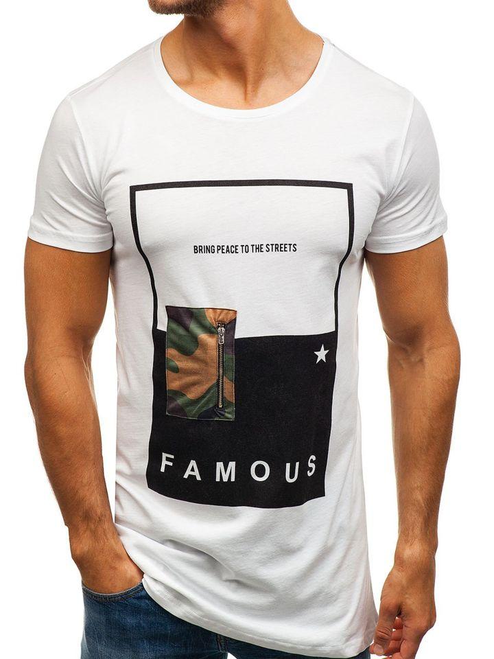 d7762f596385 Biele pánske tričko s potlačou BOLF 1014