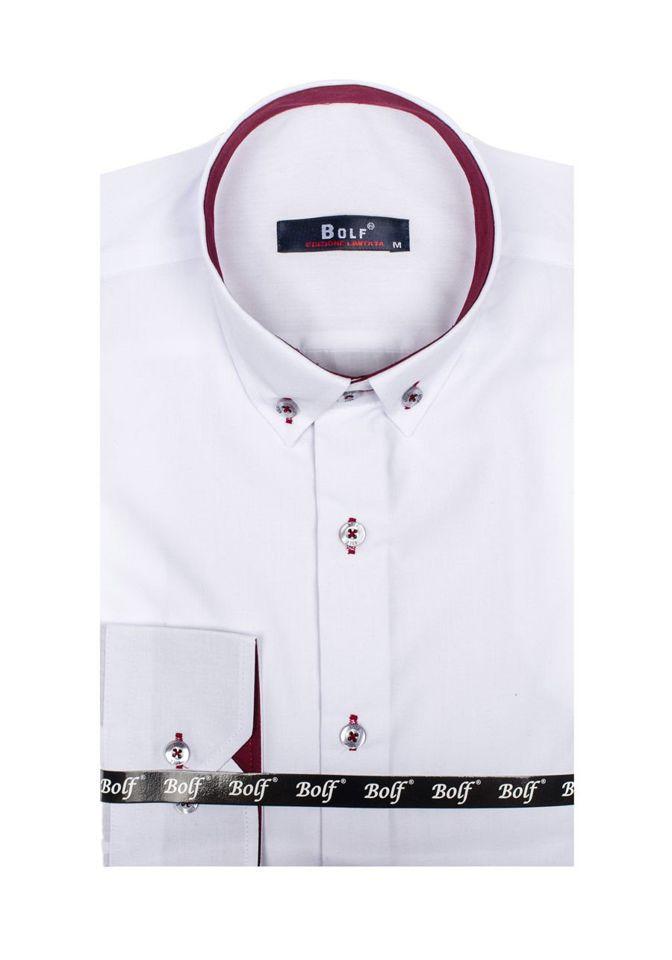 fdb03956d8ab Bielo-bordová pánska elegantná košeľa s dlhými rukávmi BOLF 5722-1