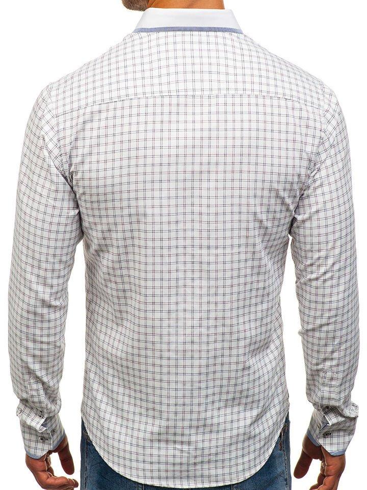 c188361ddd76 Bielo-bordová pánska károvaná košeľa s dlhými rukávmi BOLF 8812