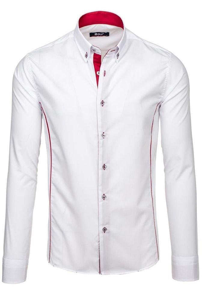 a0061aef643b Bielo-červená pánska elegantná košeľa s dlhými rukávmi BOLF 5722-1