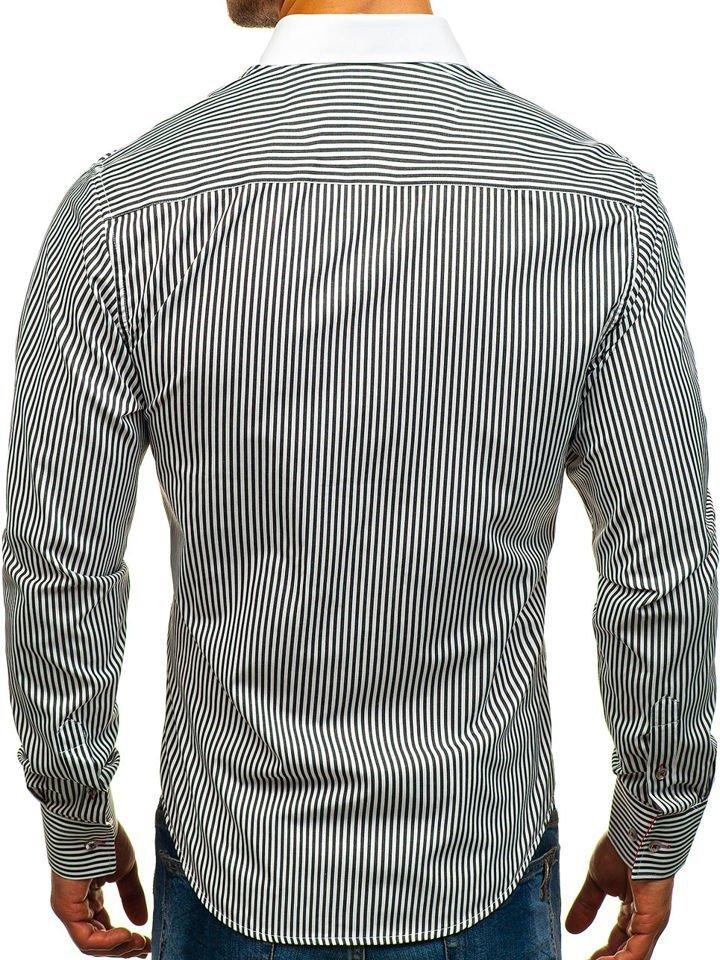 0effeeb67ff1 Bielo-čierna pánska elegantná pruhovaná košeľa s dlhými rukávmi BOLF 5759