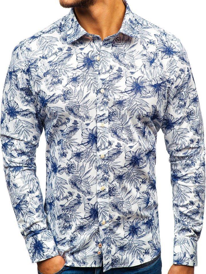 7a9201838328 Bielo-tmavomodrá pánska vzorovaná košeľa s dlhými rukávmi BOLF 301G66