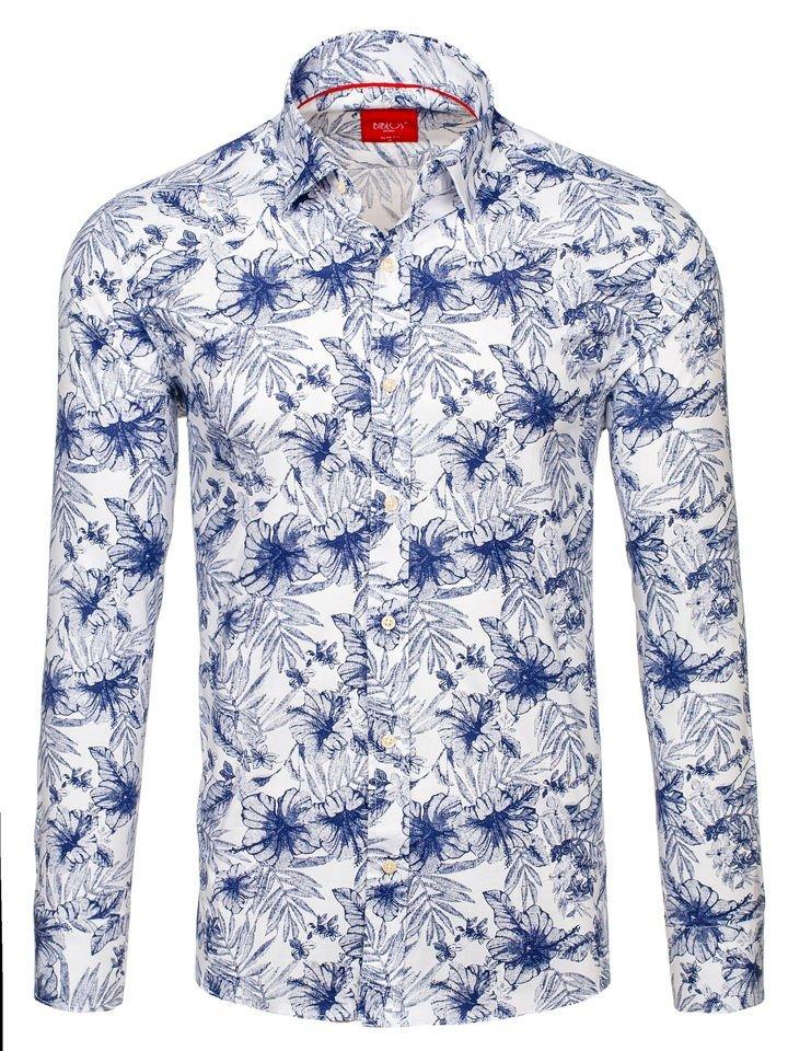 50173cea4cd5 Bielo-tmavomodrá pánska vzorovaná košeľa s dlhými rukávmi BOLF 301G66