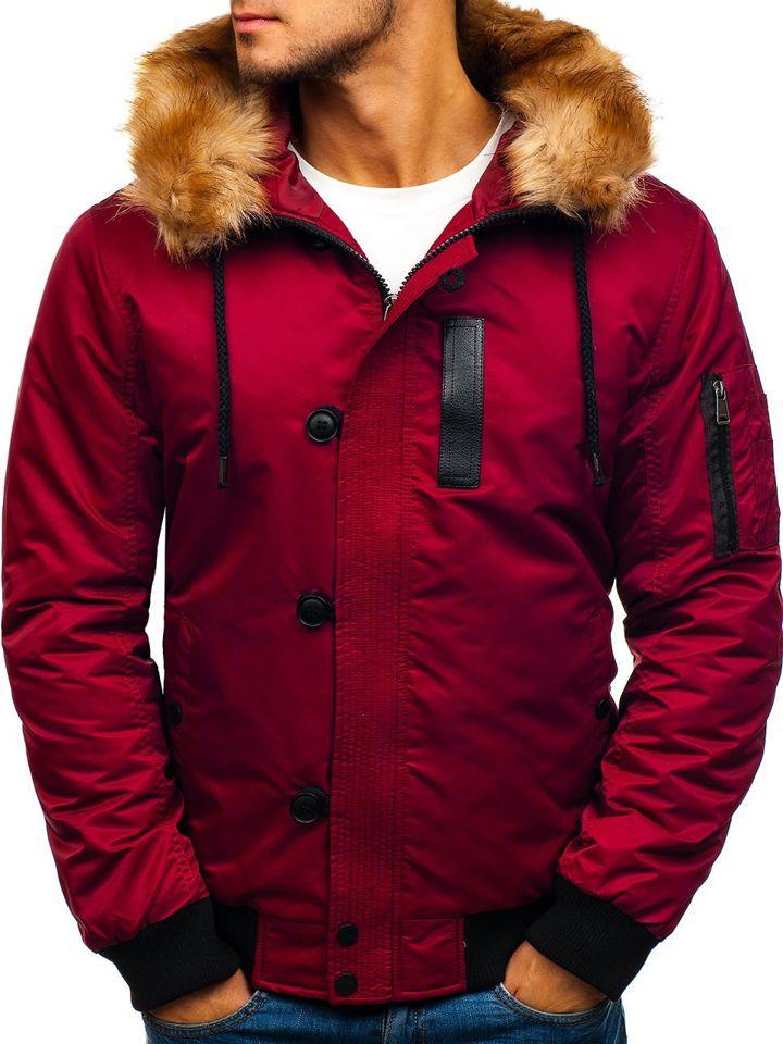 32560077cff8 Bordová pánska zimná bunda BOLF 1826