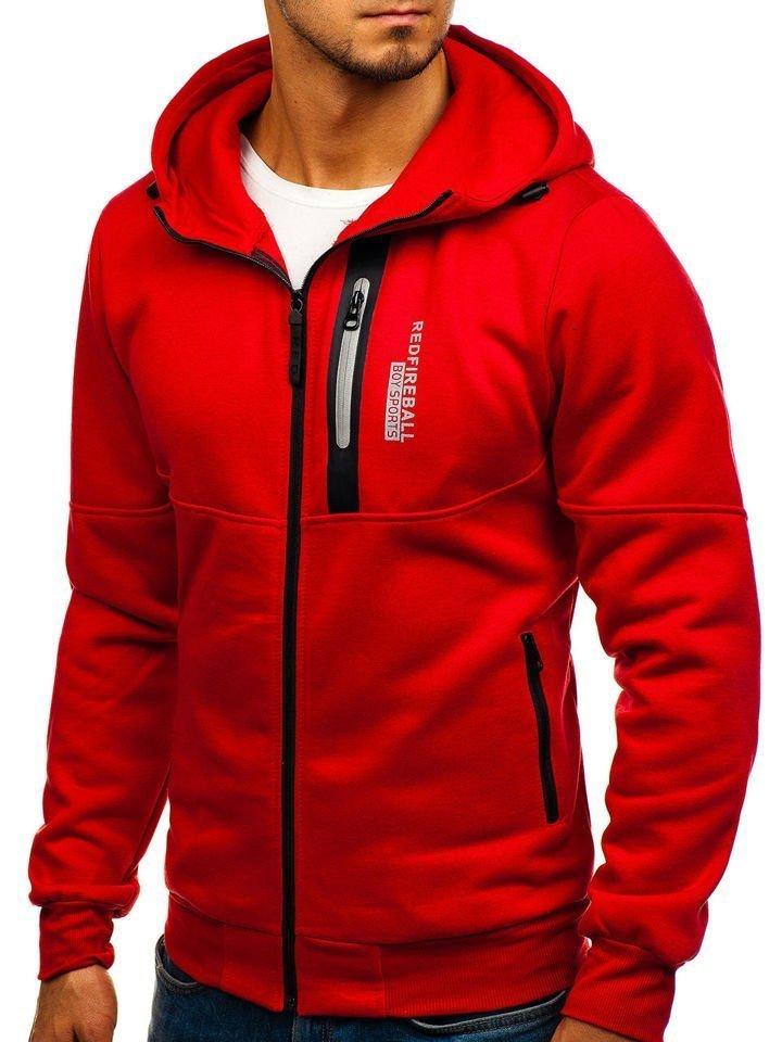 Červená pánska mikina s kapucňou a potlačou BOLF 80683 fcccc37fc4c