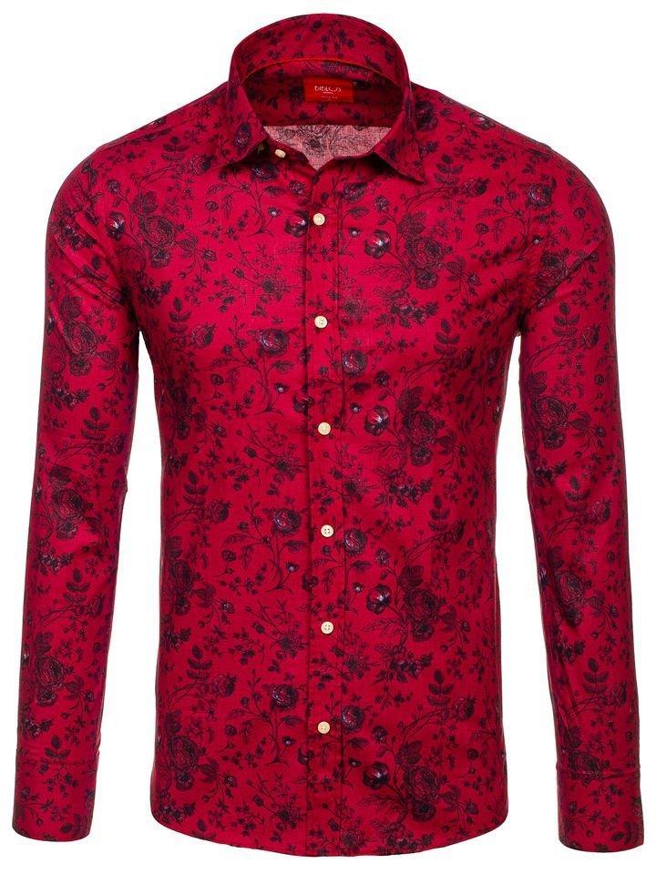 dcdc431dbc4e Červená pánska vzorovaná košeľa s dlhými rukávmi BOLF 200G7