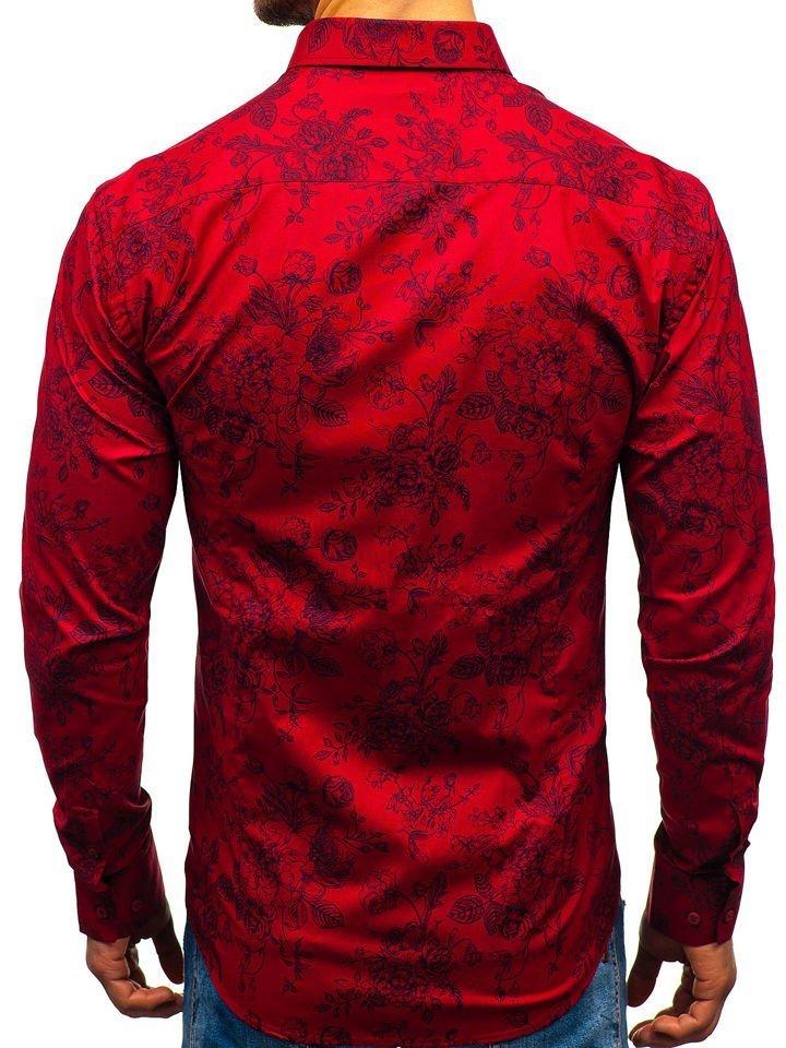 16e3d15ea1ba Červená pánska vzorovaná košeľa s dlhými rukávmi BOLF 470G19