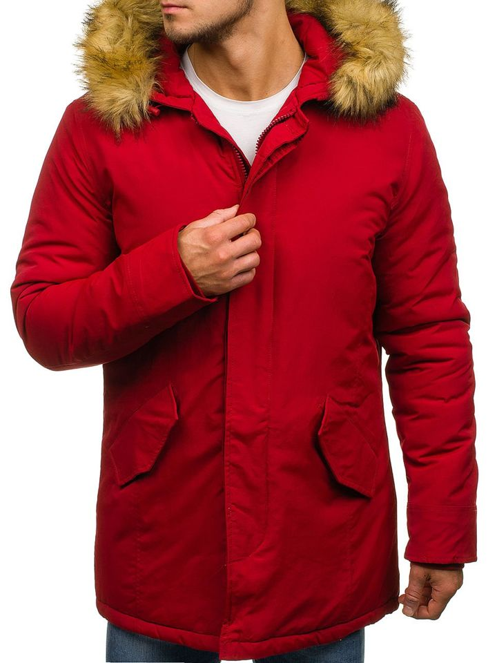 461480736 Červená pánska zimná bunda parka BOLF YT303
