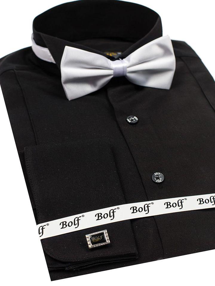 838264323 Čierna pánska elegantá košeľa s dlhými rukávmi BOLF 4702-A motýlik + manžetové  gombíky