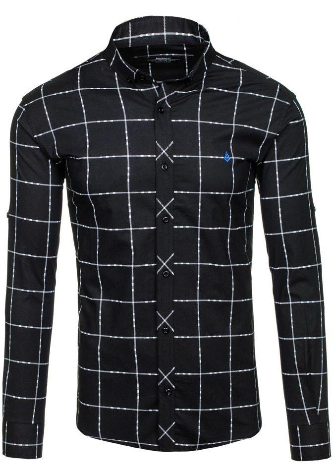 8f1ae82b8d2c Čierna pánska károvaná košeľa s dlhými rukávmi BOLF 0280