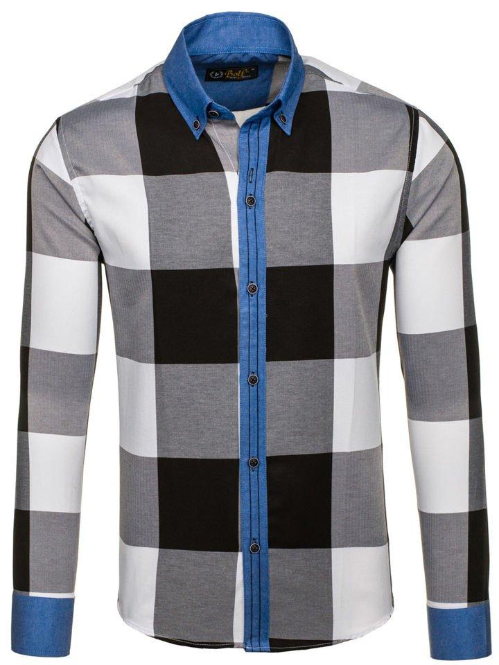80a392fcd87e Čierna pánska kockovaná košeľa s dlhými rukávmi BOLF 7703
