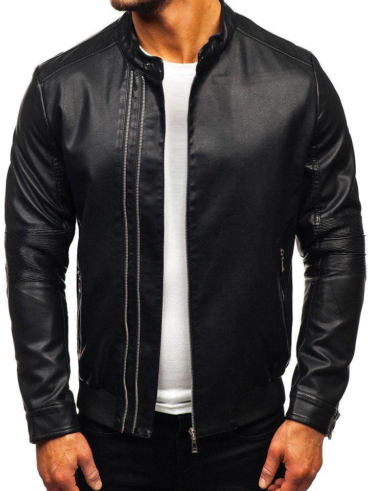 Čierna pánska koženková bunda BOLF 1073 8cf6a0429f1