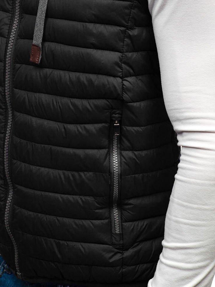 Čierna pánska prešívaná vesta s kapucňou BOLF 1252 cf288aafa43