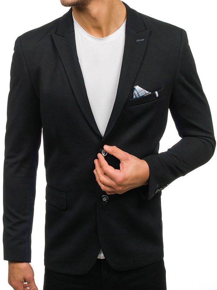 3b38090831d5 Čierne pánske elegantné sako BOLF 192