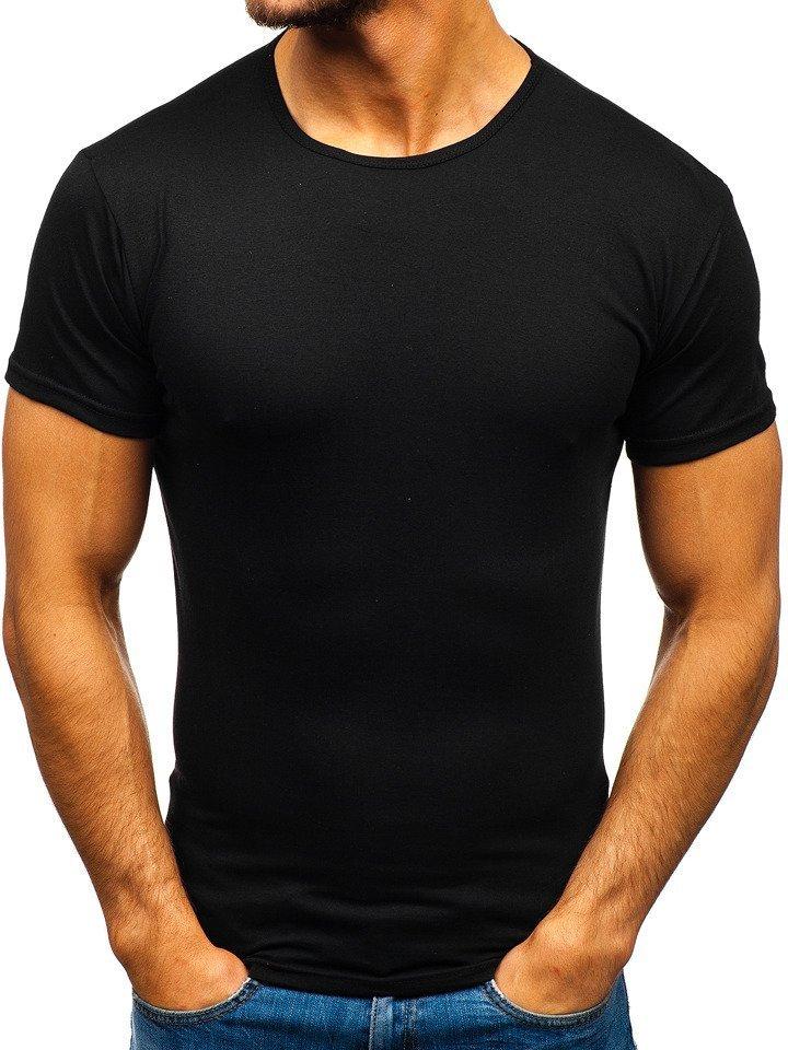 2b23ccaf2e00 Čierne pánske tričko bez potlače BOLF 0001