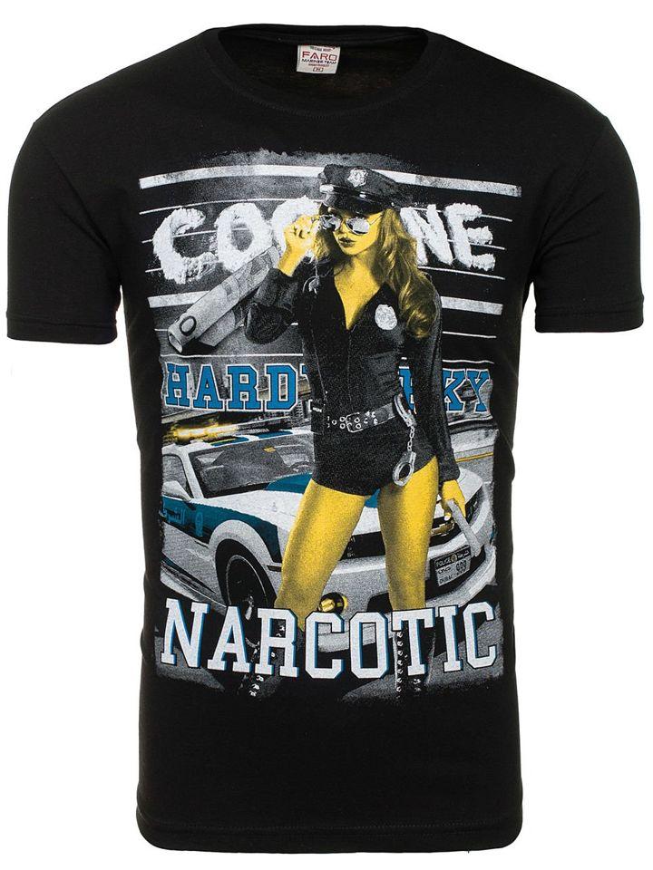 4cf9b8585d746 Čierne pánske tričko s potlačou BOLF 004