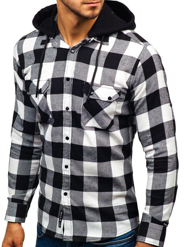 2251eeeac8a0 Čierno-biela pánska flanelová košeľa s dlhými rukávmi BOLF 1031