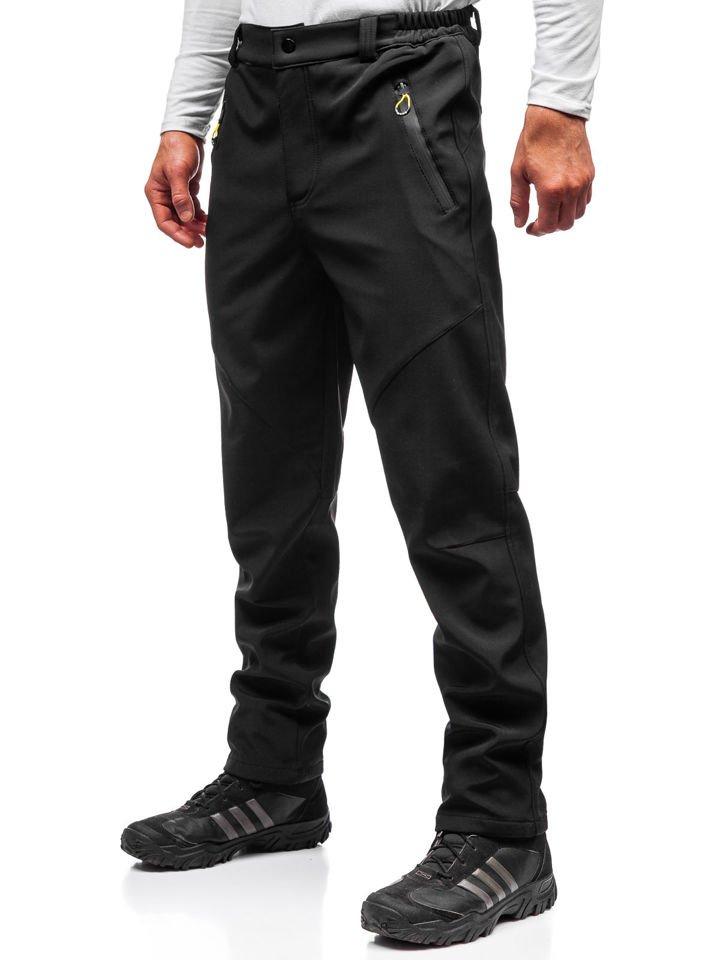 e00e5f4c27ca1 Čierno-žlté pánske softshellové turistické nohavice BOLF 5454