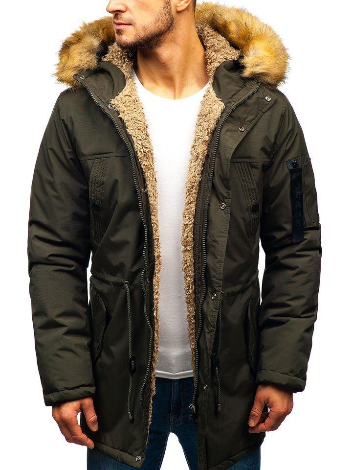 Khaki pánska zimná bunda parka BOLF R103 73ea3da46ed