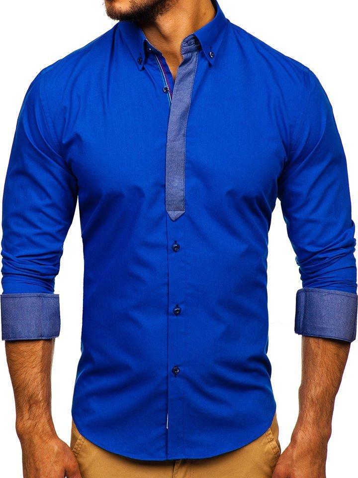 c352dd308c0a Kráľovsky modrá pánska elegantná košeľa s dlhými rukávmi BOLF 3725