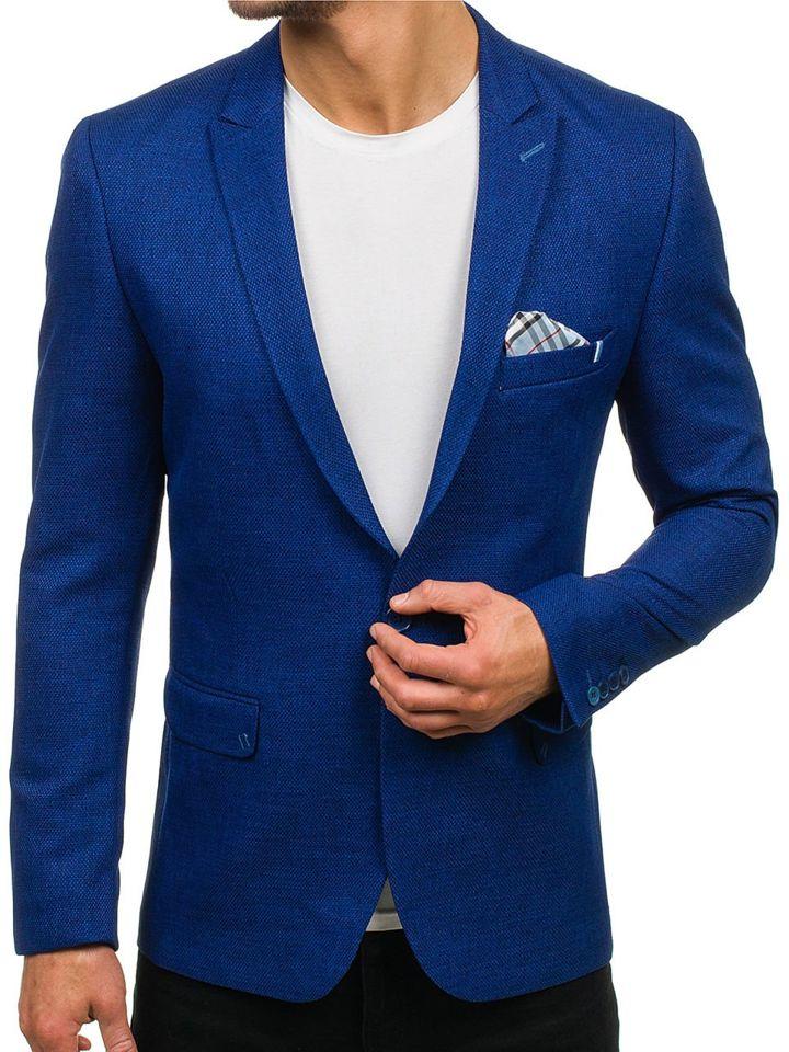 Kráľovský modré pánske elegantné sako BOLF 469 3015e58477c