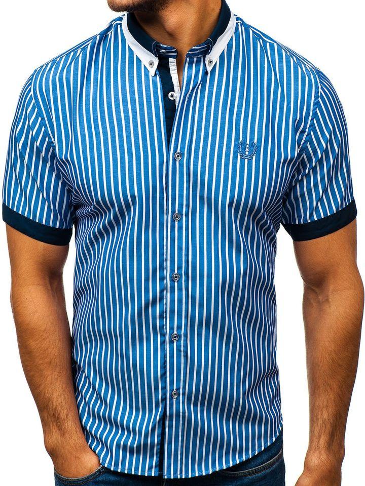 d2e0445cf0d2 Modrá pánska elegantná károvaná košeľa s krátkymi rukávmi BOLF 4501