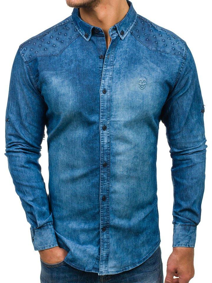 75bbe81690f4 Modrá pánska riflová košeľa s dlhými rukávmi BOLF 0540