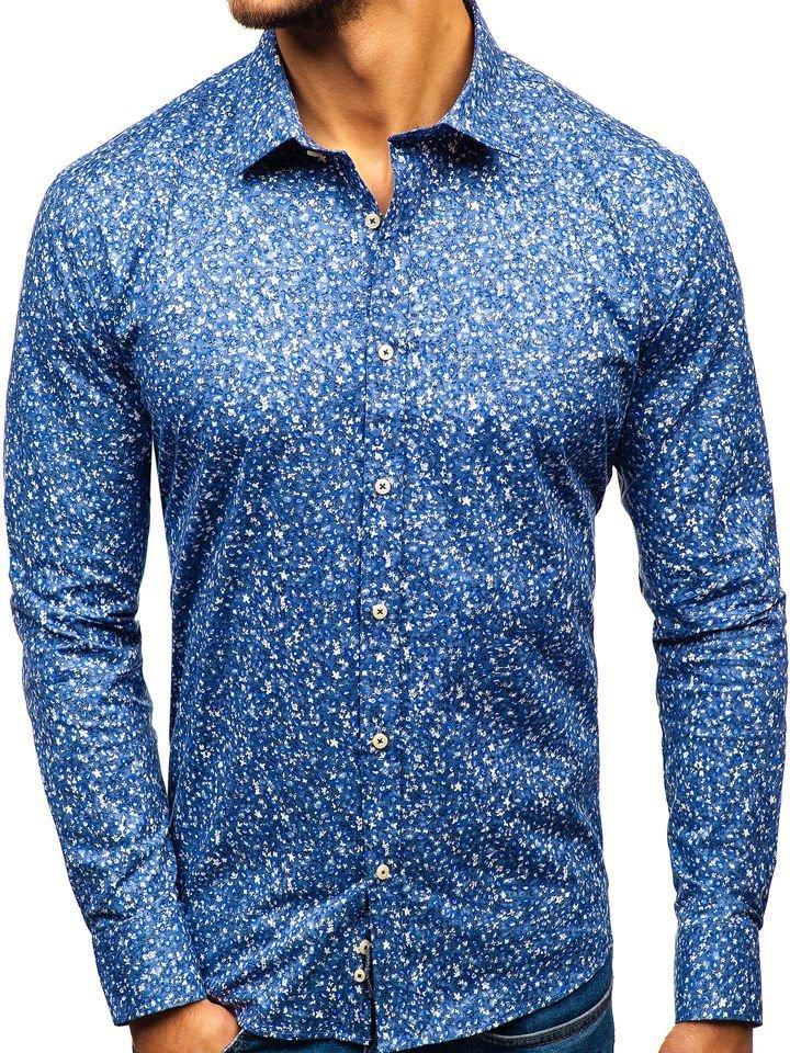 73f42c71962d Modrá pánska vzorovaná košeľa s dlhými rukávmi BOLF 300G9