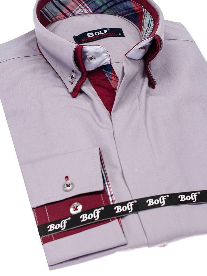 a85083be1b Šedá pánska elegantná košeľa s dlhými rukávmi BOLF 5895