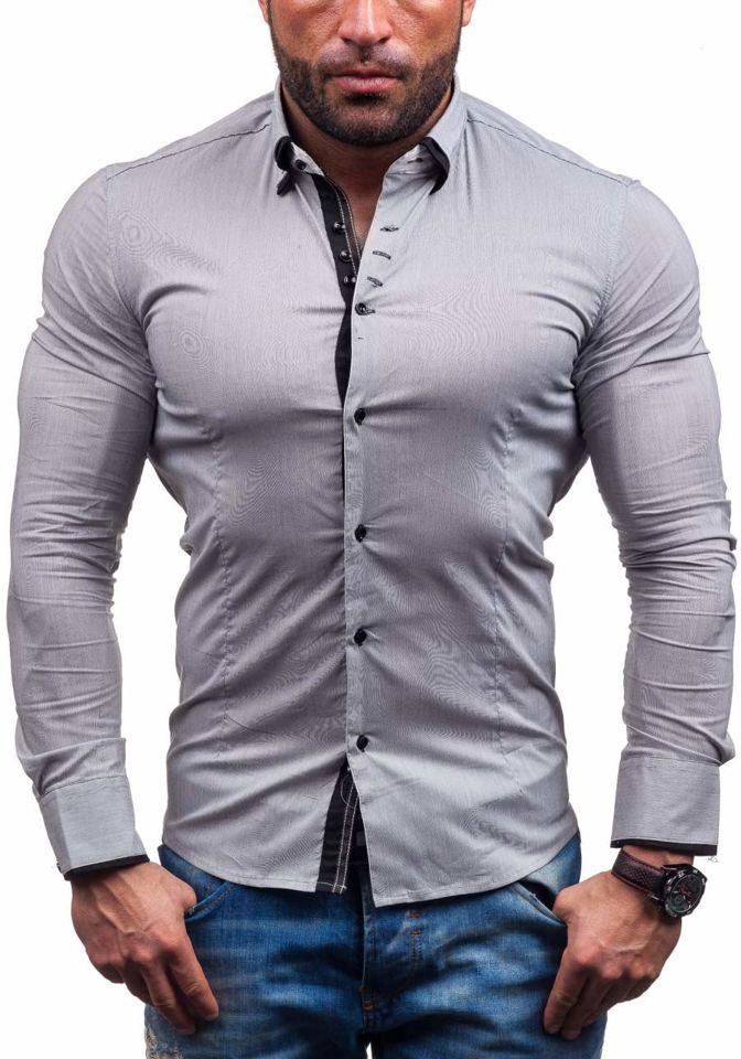 212090514c Šedá pánska elegantná košeľa s dlhými rukávmi BOLF 7188