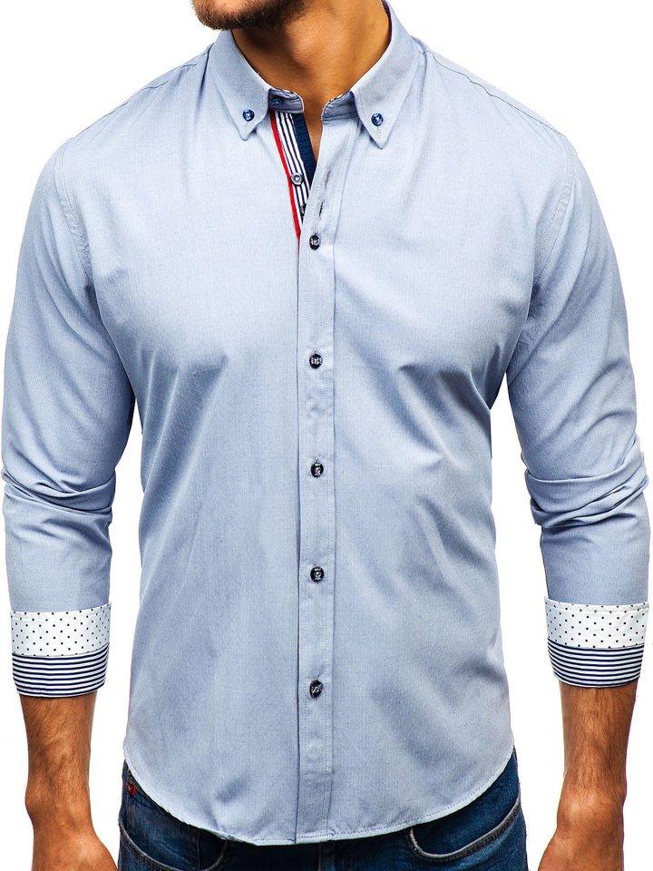c5810c93f7 Šedá pánska vzorovaná košeľa s dlhými rukávmi BOLF 8843