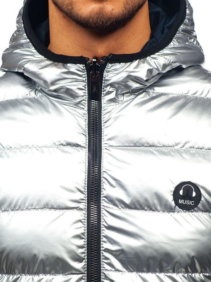 222f4e1784eb Strieborno-tmavomodrá pánska obojstranná zimná bunda BOLF 4790