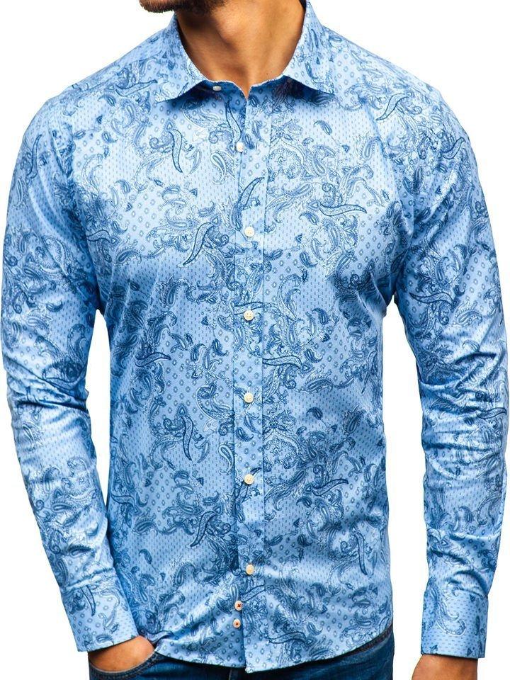 596ec062f004 Svetlomodrá pánska vzorovaná košeľa s dlhými rukávmi BOLF 301G74