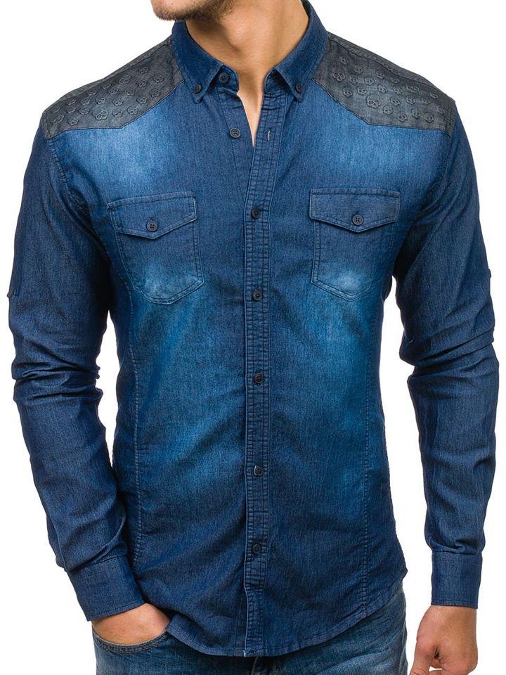 49d6a22ddcf2 Tmavomodrá pánska riflová vzorovaná košeľa s dlhými rukávmi BOLF 0517-1