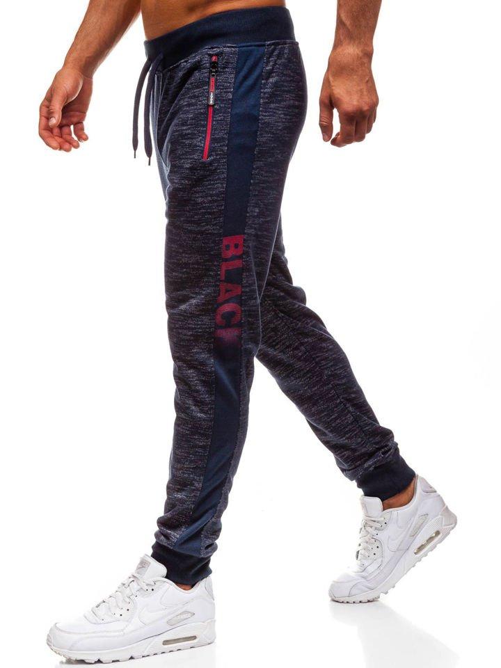 8099cbd0c3dc1 Tmavomodré pánske teplákové joggery BOLF HX069