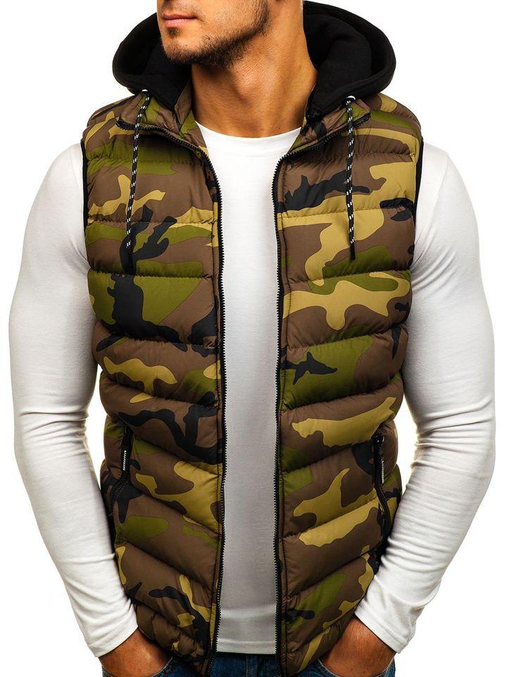Zelená pánska vesta s kapucňou BOLF 5381 32233b10d13