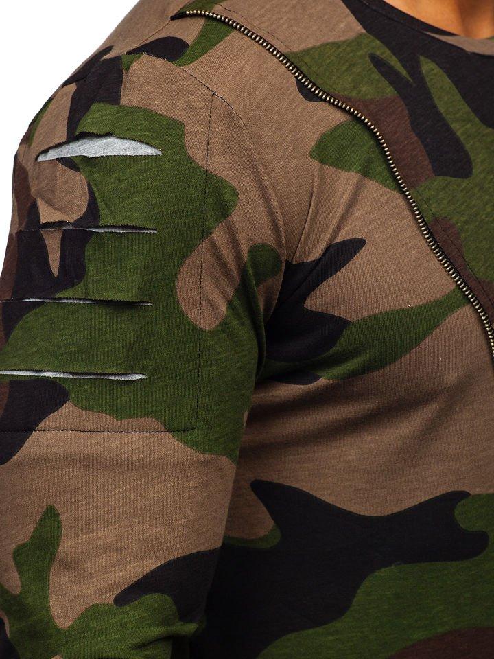8fd2990d5 Zelený maskáčový pánsky nátelník s potlačou BOLF 1090