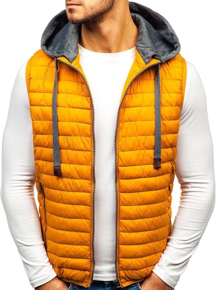Žltá pánska prešívaná vesta s kapucňou BOLF 1252 24210f7ff1c
