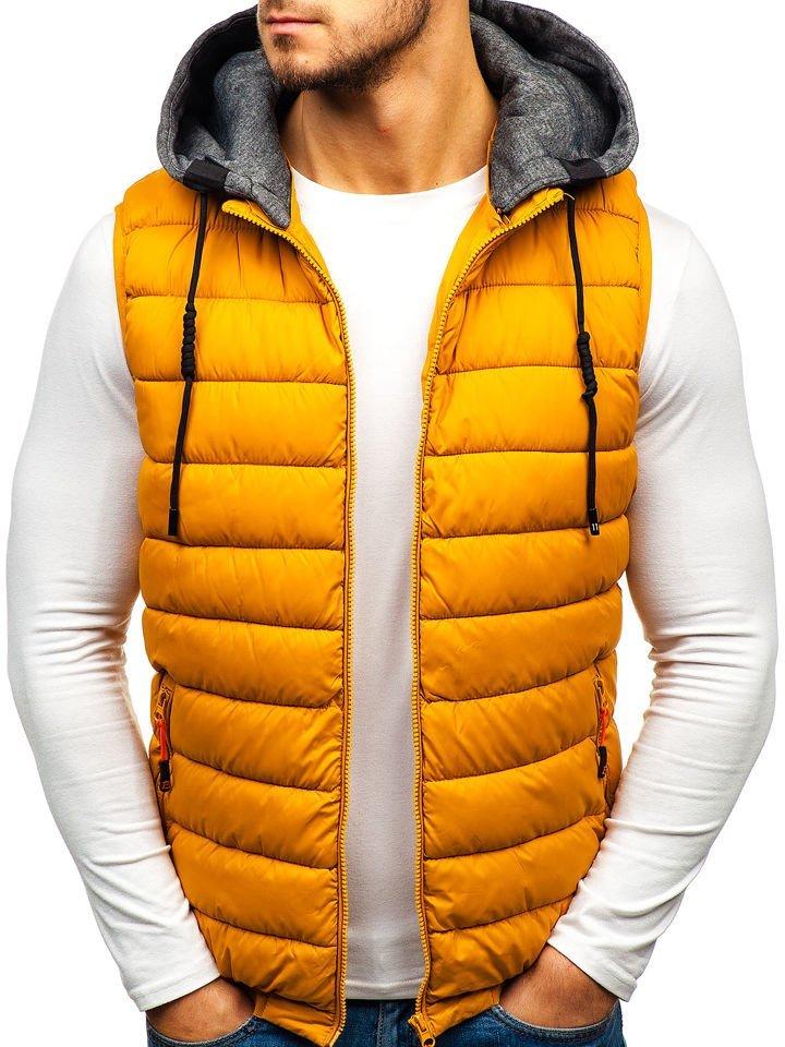 Žltá pánska prešívaná vesta s kapucňou BOLF 1261 60efeb8f466