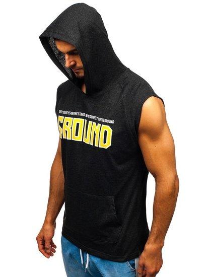 Antracitové pánske tričko s potlačou a kapucňou BOLF 2859