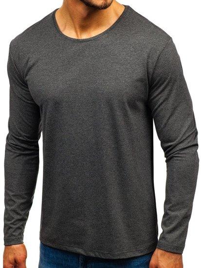 Antracitové pánske tričko s dlhými rukávmi bez potlače BOLF 172007