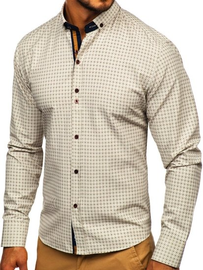Béžová pánska vzorovaná košeľa s dlhými rukávmi Bolf 9708