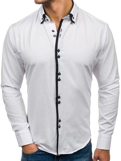Biela pánska elegantá košeľa s dlhými rukávmi BOLF 1721-A