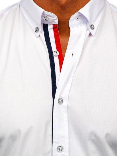 Biela pánska elegantá košeľa s dlhými rukávmi BOLF 3713
