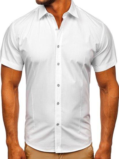 Biela pánska elegantá košeľa s krátkymi rukávmi BOLF 7501